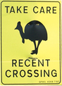 cassowary recent crossing sign