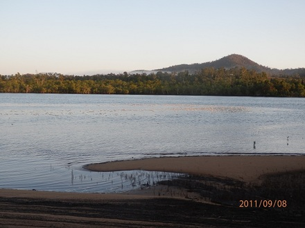 Fractionated protein from algal bloom floats into the Johnstone River on the early morning tide